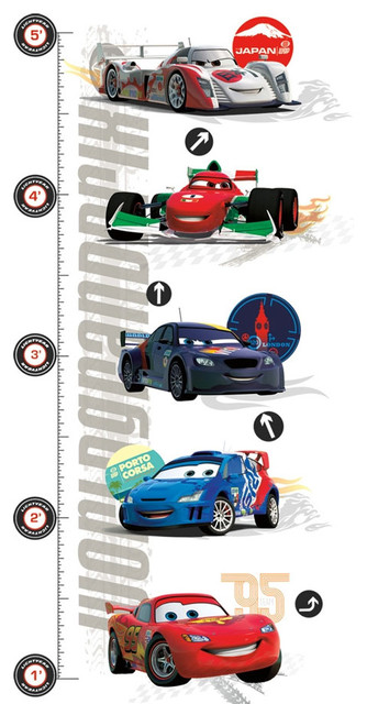 Disney Cars 2 Growth Chart Large Wall Accent Decal Set contemporary-growth-charts