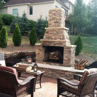 Outdoor fireplace traditional patio birmingham by for Pre engineered outdoor fireplace