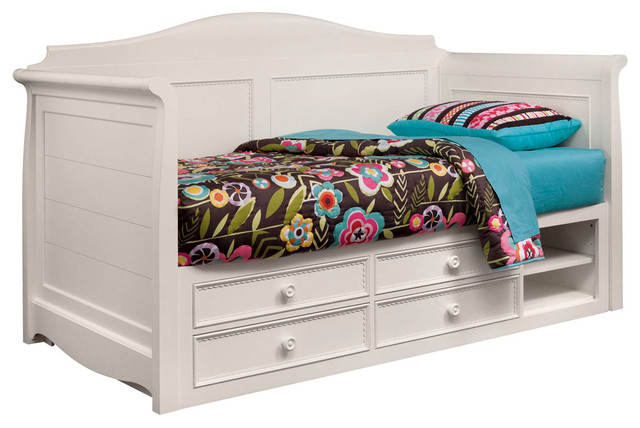 lea hannah twin daybed with storage in white traditional children 39 s beds by beyond stores. Black Bedroom Furniture Sets. Home Design Ideas