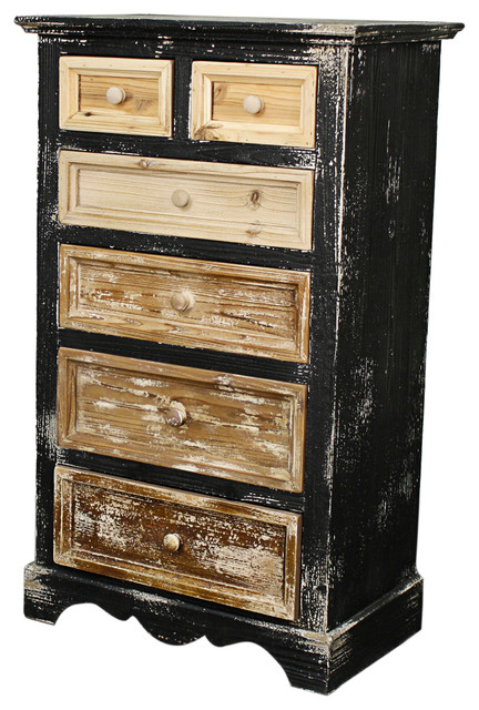 Tuscany 6-Drawer Chest, Distressed Black - Modern - Accent Chests And Cabinets - by New Pacific ...