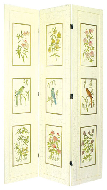 Wayborn 3 Panel Crackle Birds and Bamboo Room Divider farmhouse-screens-and-room-dividers
