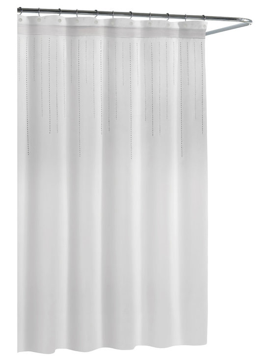 Kassatex - Kassatex Cortina Rhinestone Shower Curtain, White - Rhinestones drip down the top of this luxurious shower curtain, adding a little bling to your bath experience. No need to re-create Versailles — it's the little touches that'll make you feel like royalty in your own home.