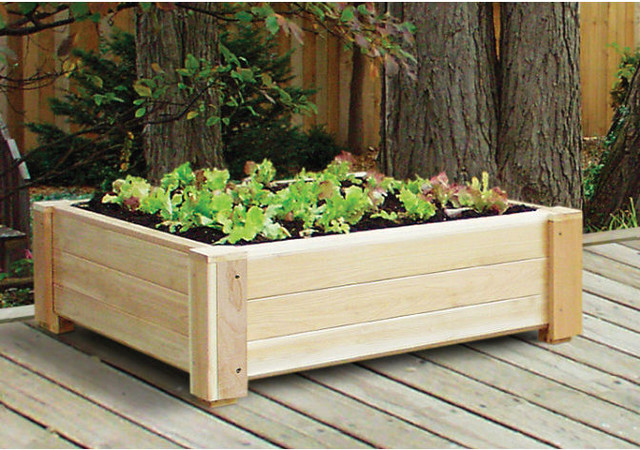 Cedar Square Raised Container Garden Traditional Outdoor Pots And Planter