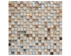 Glass And Stone Mixed Mosaic Tile contemporary kitchen tile