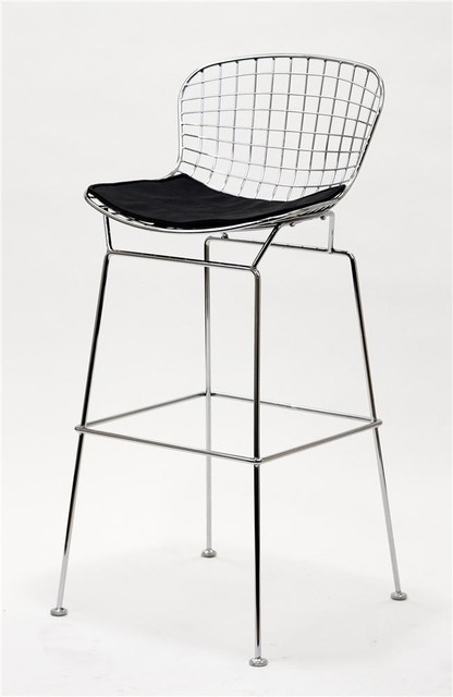 CAD Wire Bar Stool in Silver Frame w Black Cu  : contemporary furniture from www.houzz.com size 416 x 640 jpeg 33kB