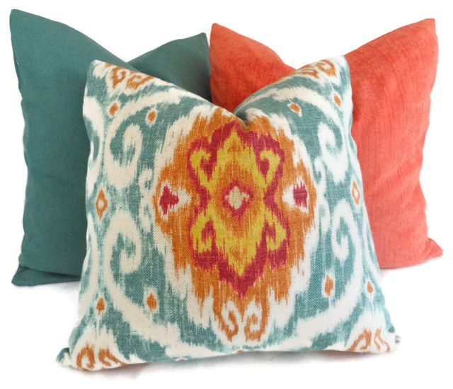 Iman Turquoise and Orange Ikat Decorative Pillow Cover By PopOColor eclectic pillows