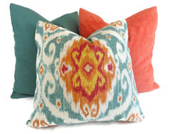 Iman Turquoise and Orange Ikat Decorative Pillow Cover By PopOColor eclectic-pillows