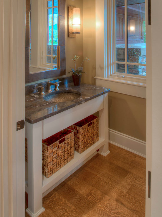 Custom Cabinets - Custom transitional vanity with an open base