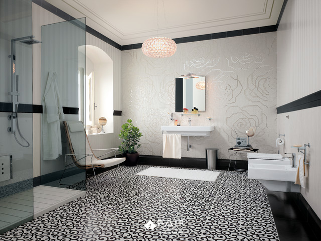 Patterned Black & White Floor - Modern - Bathroom - brisbane - by ...