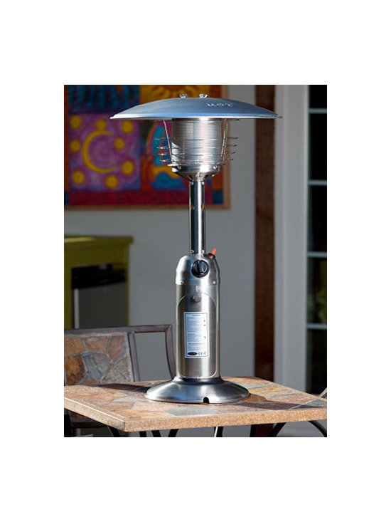 Fire Sense Stainless Steel Table Top Patio Heater - The Fire Sense Stainless Steel Table Top Patio Heater weighs less than 15 pounds and produces heat using propane. -Mantels Direct