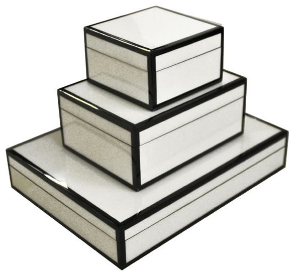 Lacquered Boxes, White & Black Trim modern storage boxes