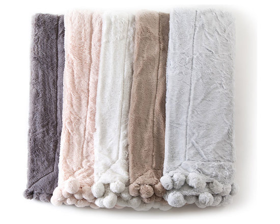 """Pom Pom at Home - Pom Pom Throw - FOG ( OFF WHITE) (50X60) - Pom Pom at HomePom Pom ThrowDetailsMade of ultra-plush polyester.Finished with large pom poms along the edge.Approximately 50"""" x 60"""".Hand wash.Imported."""