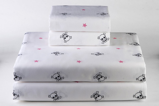 Skull and Crossbones Linen, White modern sheet sets