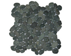 Charcoal Black Pebble Tile rustic-tile
