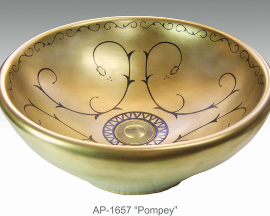 """Hand Painted Vessels Sinks by Atlantis - """"POMPEY"""" burnished gold Shown on AP-1657 Nice vessel sink O/D 17-1/2"""" Dia x 7"""" H center drain with and without overflow."""