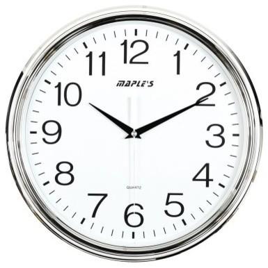 Maples Sales Plastic 15 in. Wall Clock - Chrome modern-clocks