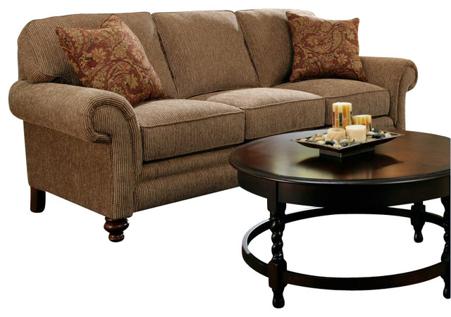 Broyhill Larissa Brown Three Seat Sofa with Cherry Wood Finish transitional-sofas