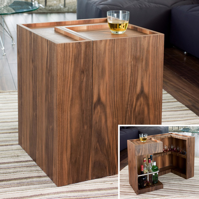 Imbibe Mini Bar Side Table Walnut Modern Indoor Pub And