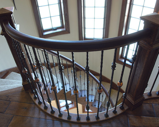 South Shore Club, Lake Geneva, WI - Custom Staircase, featuring Victorian Collection Custom Hand-scraped & Distressed Vintage French Oak floors