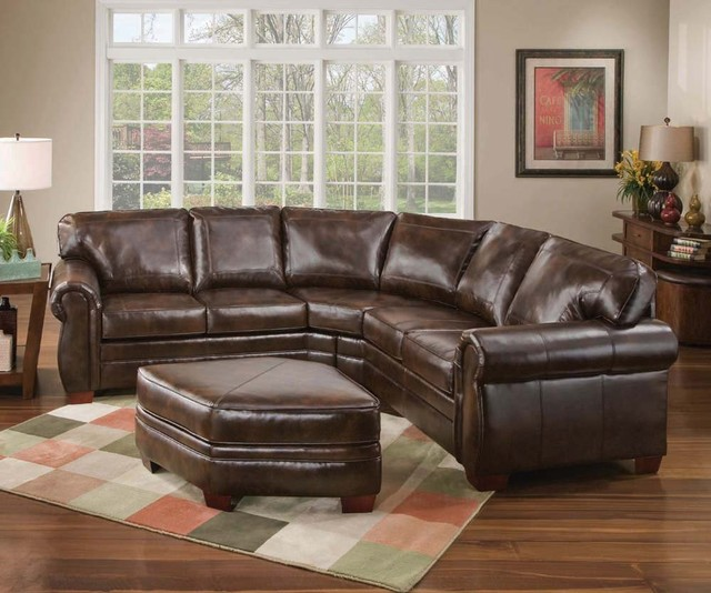 Traditional Living Room Leather Furniture: Savannah Leather Sectional Sofa Set