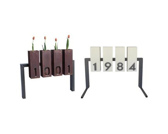 Lantern Metal Address Sign - What a clever way to present your house numbers. It's modern but has a natural element with the planters and comes in multiple finishing options.