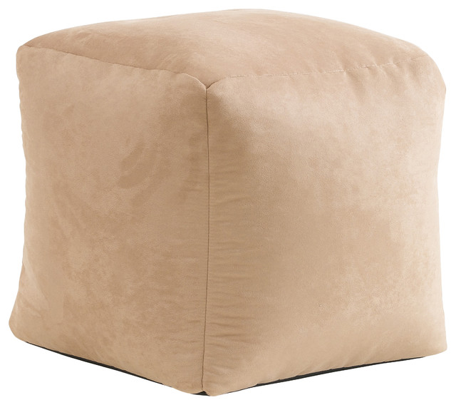 Tan Whitney Suede Bean Bag Cube Ottoman Transitional