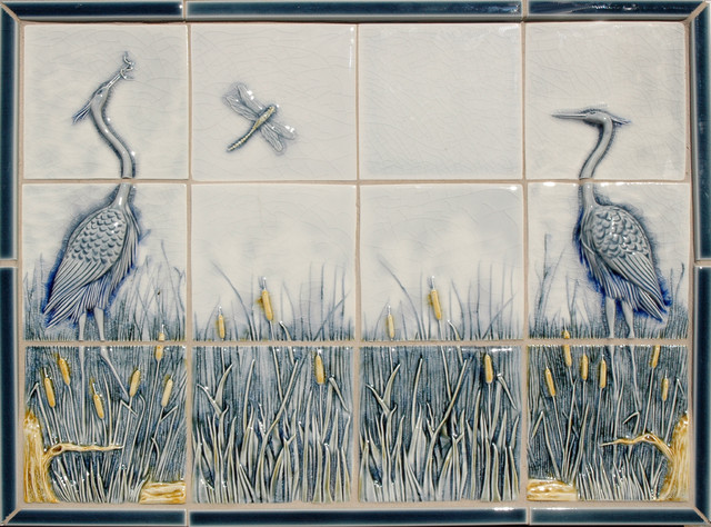 Heron Panel tropical bathroom tile