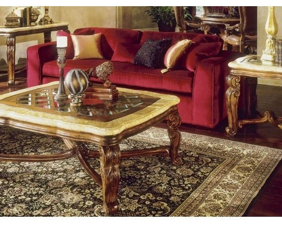 AICO Furniture - Tuscano Occasional Table Set in Biscotti - 34201/34202 - Set includes (1) Tuscano End Table in Biscotti, and (1) Tuscano Rectangular Cocktail Table in Biscotti