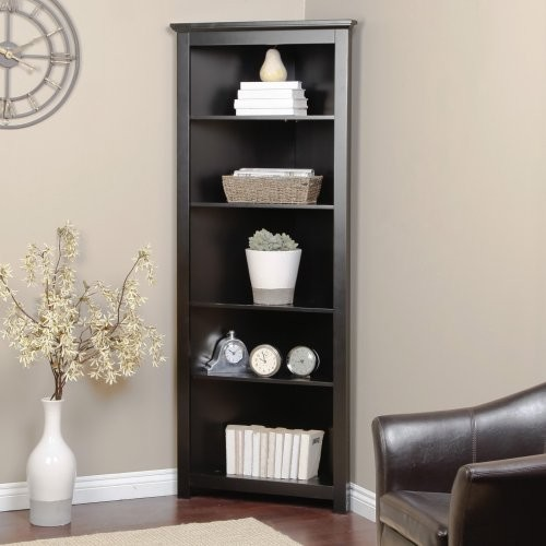 Redford Black Corner Bookcase - Traditional - Bookcases - by Hayneedle