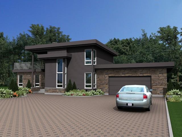 Luxury modern home design qu bec qc modern rendering for Modern house quebec