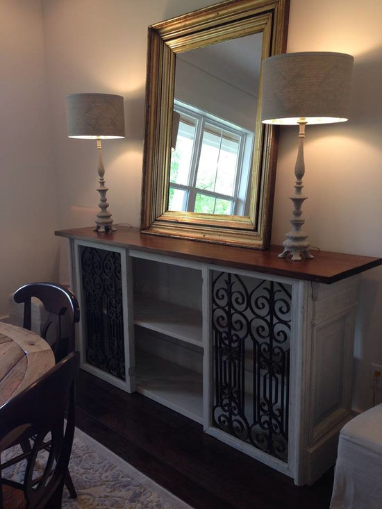 Custom designed console, built from antique French architectural iron panels, an -