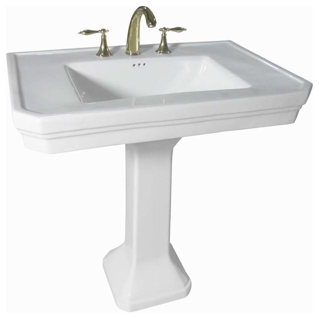 Pedestal Sinks White Vitreous Pedestal Sink 8'' Widespread | 17817 transitional-bathroom-sinks