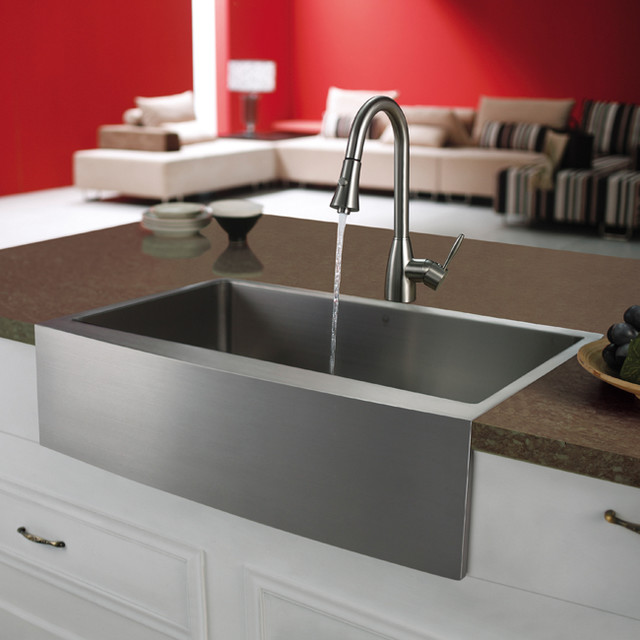 Metal Farmhouse Sink : VIGO Premium Series Farmhouse Stainless Steel Kitchen Sink and Faucet ...