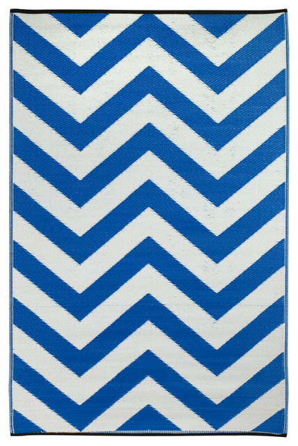 Indoor/Outdoor Laguna Rug, Regatta Blue & White, 6x9 contemporary-outdoor-rugs