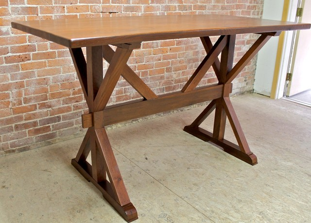 42 Bar Height Trestle Table Rustic Dining Tables Boston By