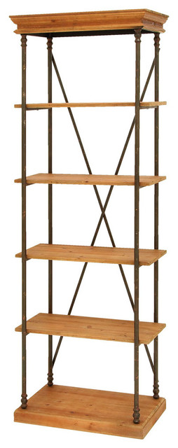 Sophisticated Wooden and Metal Shelf in Brown and Black traditional-bookcases