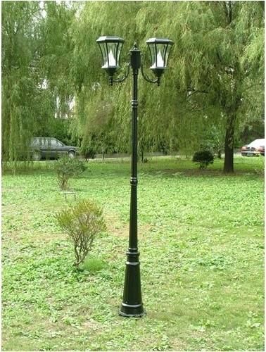 Two light solar lamp post in black modern outdoor lighting by wayfair - Modern outdoor solar lights ...