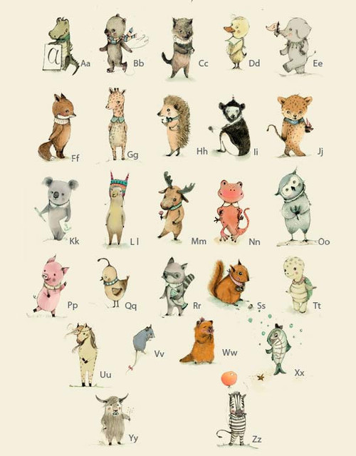 Alphabet Poster, Plenty of Animals from A to Z by