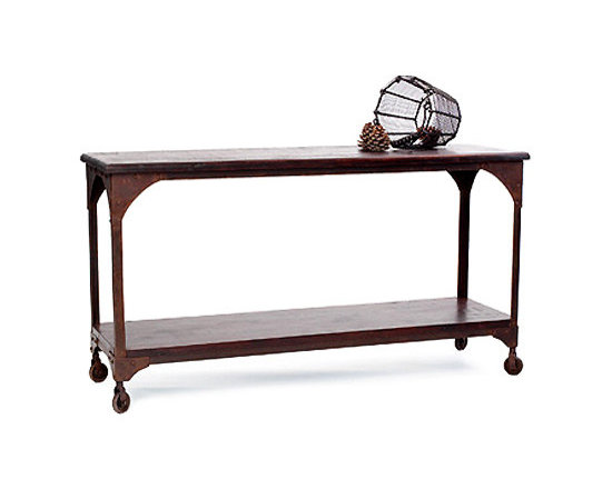Metal and Wood Console Table -