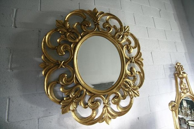 Luxury Gold Leaf Extra Large Round Mirror, Solid Mahogany