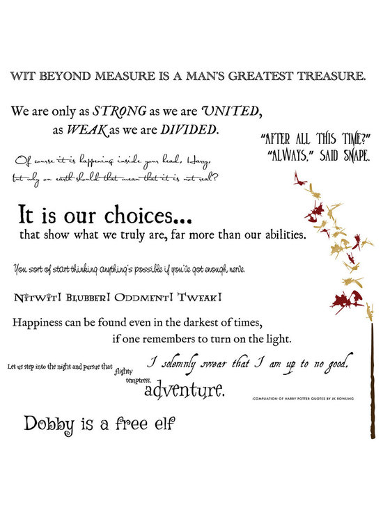 Dana Decals - Harry Potter Quote Collection Wall Decals - Harry Potter Quote Collection with Wand and Sparks