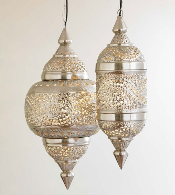 Moroccan Wall Lights Silver : VivaTerra Moroccan Hanging Lamp - Mediterranean - Pendant Lighting - by VivaTerra