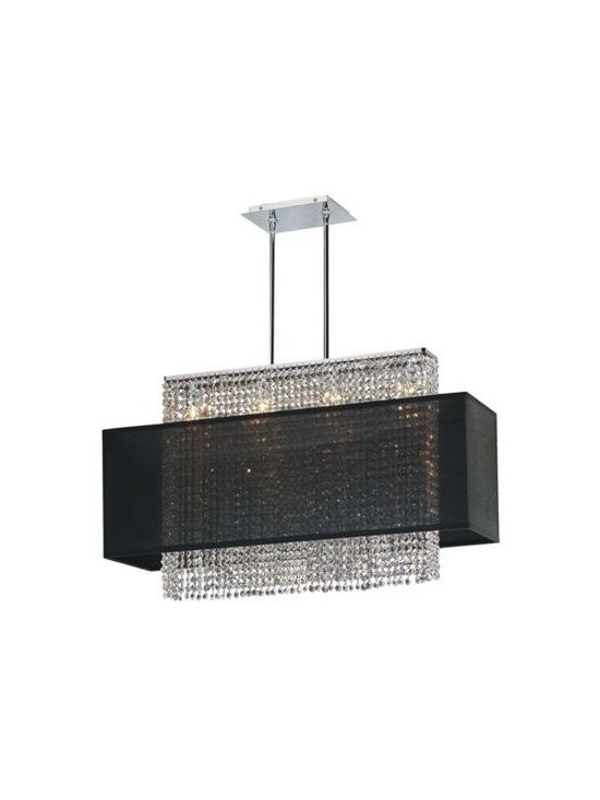 Crystal Strands Large Black Chandelier Pendant -