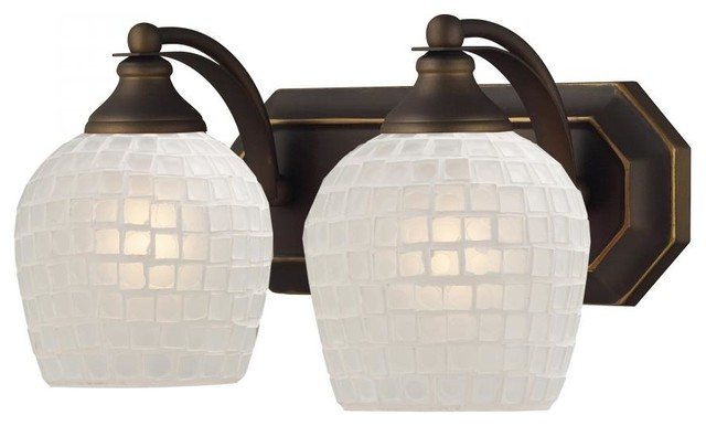 Tropical Bathroom Vanity Lights : Two Light Aged Bronze White Mosaic Glass Vanity - Tropical - Bathroom Vanity Lighting - by We ...