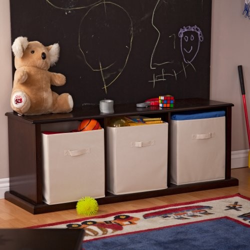 Classic Playtime Caldwell 3 Cubby Storage Bench - Espresso Finish contemporary bedroom benches