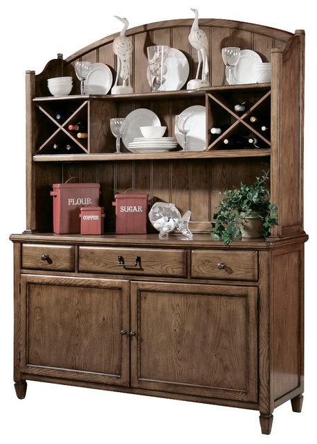 Home Buffet With Hutch In Warm Oak Traditional Buffets And Sideboards