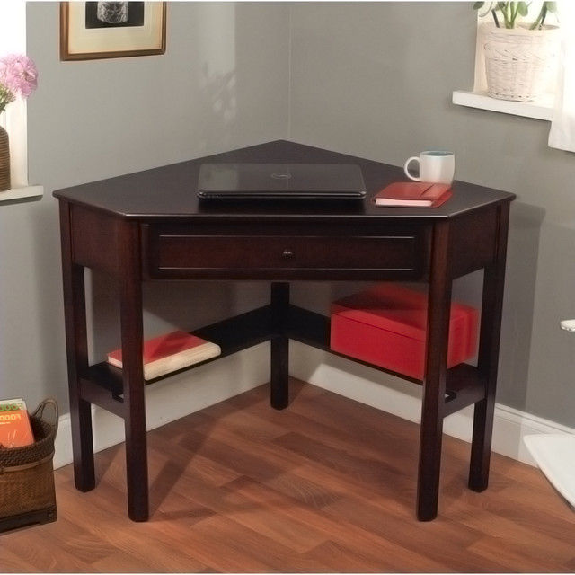 simple living espresso corner writing desk contemporary desks and