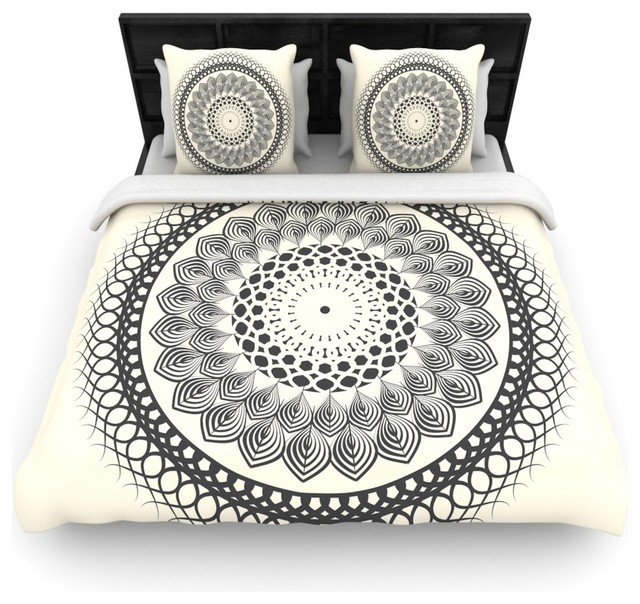 Famenxt black white boho mandala geometric fleece for Parure housse de couette ikea