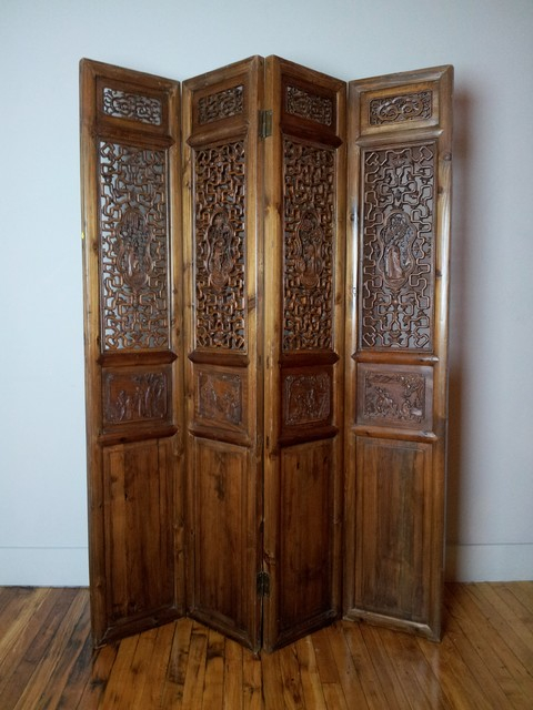 4-panel Antique Carved Wood Chinese Screens