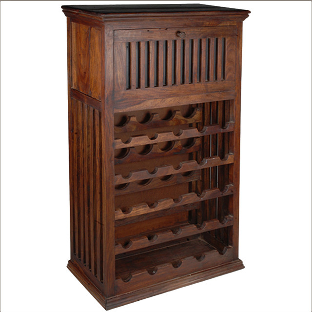 Solid Hardwood 25 Bottle Holder Wine Rack Liquor Storage Cabinet - Rustic - Wine And Bar ...